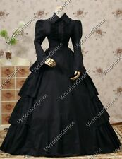 Black Victorian Maid Gothic Dress Gown Steampunk Witch Halloween Costume 007 S