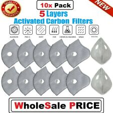 10 Pack For Pm2.5 Activated Carbon Cycling Mask Filter Replacement Air Purifying