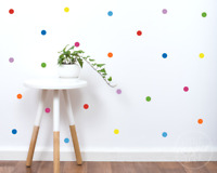 Rainbow Polka Dot Wall Decals | 2.5cm Colourful Confetti Spots Vinyl Stickers