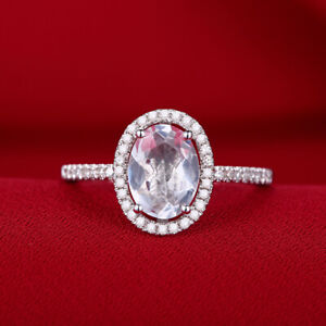 Oval 1.1ct Genuine White Topaz Real Diamond Wedding Jewelry 10K White Gold Ring