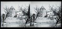 Francia Torre Château Foto c1930 Negativo Placca Da Lente Vintage Stereo VR16L12