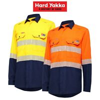 Mens Hard Yakka FR Taped NEW ShieldTec Lenzing Hi-Vis Safety Work Shirt Y04370