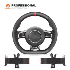 DIY Leather Suede Car Steering Wheel Cover Wrap for Audi TT RS 2009-2014 RS 3