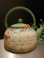 VINTAGE COUNTRY KITCHEN HAND PAINTED  FARMHOUSE DECORATIVE METAL TEA POT
