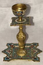 Antique French 19th century gilt and enamel champlevé candle stick