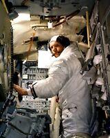 NEIL ARMSTRONG APOLLO 11 ASTRONAUT IN LUNAR MODULE SIM  8X10 NASA PHOTO (BB-033)