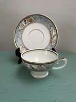 Hutschenreuther Selb LHS Bavaria Germany Tea Cup & Saucer Blue Floral Gold China
