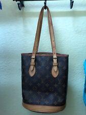 👀Vintage Louis Vuitton Leather Petit Bucket Shoulder tote bag authentic