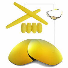 Walleva 24K Gold Polarized lenses + Ear socks T-shocks for Oakley X Metal XX