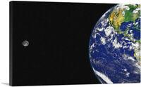 ARTCANVAS Planet Earth With Moon Home decor Canvas Art Print