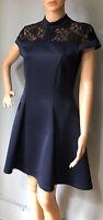 River Island Womens High Neck Bodycon Skater Dress Lace Detail UK Size 12 BNWOT