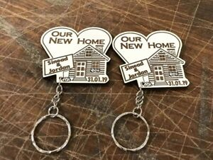 2 X Personalised Our First Home Keyring New House Housewarming Gift Wooden