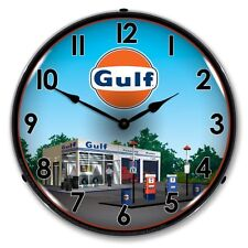 NEW GULF STATION  RETRO ADVERTISING  BACKLIT LIGHTED CLOCK - FREE SHIPPING*