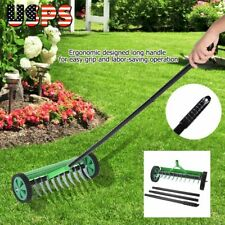 Heavy Duty Rolling Garden Lawn Aerator Roller Home Grass Metal Handle Green New