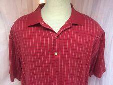 Greg Norman Golf XL Red Checkered Golf/Polo Shirt Short Sleeve Free Shipping
