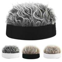 Men Women Hip Hop Beanie Hat with Spiked Fake Hair Funny Retro Short Wig Cap UK