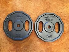 """2 Vintage 25 Lb MARCY's Barbell Weight Grip Plates Standard 1"""" Hole Total 50lbs"""