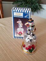Vintage Porcelain Snowman Christmas Bell With Working Clinger & Original Box
