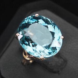 AQUAMARINE AQUA BLUE OVAL 16.30 CT. 925 STERLING SILVER ROSE GOLD RING SZ 6.5