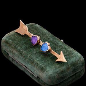 Antique Vintage Nouveau 18k Rose Gold Amethyst Sapphire Sweetheart Pin Brooch