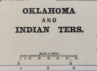 "Vintage 1900 OKLAHOMA INDIAN TERRITORY Map 14""x11"" Old Antique Original GUTHRIE"