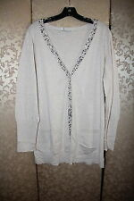 Eileen Fisher Beige Ivory Sequin Boyfriend Organic Cotton Cashmere Cardigan XL