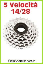 Ruota libera 5 Velocità a FILETTO per bicicletta / Dentatura 14 / 28