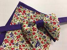 Handmade Bow tie & Hanky Set Purple Floral Vintage 70`s Style Pretied Adjustable