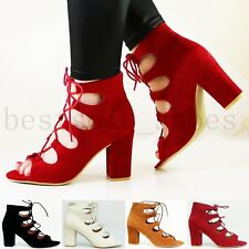 WOMENS LADIES ANKLE STRAP CAGED LACE UP SANDALS MID HIGH BLOCK HEELS SHOES SIZE