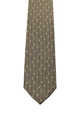 New Gucci Brown Patterned Bird Tie