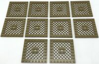 Lego 10 New Dark Tan Plates Modified 8 x 8 with Grille Grate Pieces