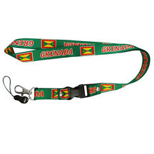 Grenada Green Country Flag Lanyard Keychain Passholder . New