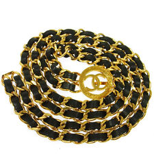 Authentic CHANEL Vintage CC Logos Medallion Gold Chain Belt Leather V02976