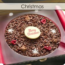 "Gourmet Chocolate Pizza Company 7"" Happy Christmas Belgian Present Gift in Box"