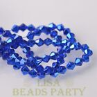 New Arrival 200pcs 3mm Faceted Bicone Loose Spacer Glass Beads Deep Blue