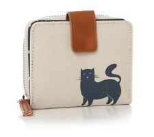 Lisa Buckridge Cats Cat Navy Blue Stone Oilcloth Ladies Wallet Purse Zip