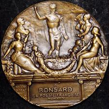 """Nudes Art Pierre de Ronsard French / """"La Poesie Francaise"""" 1924 BRONZE MEDAL M68"""