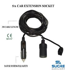 12-24v 5a Power Motocicleta coche cigarrillo encendedor Socket Plug Extensión 3m Cable