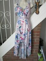 BNWT UK 4 PETITE LIPSY Dress Maxi Dip Hem Pink Floral Cold Shoulder Plunge Lace