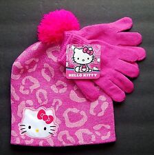 HELLO KITTY SANRIO Pink Knit Beanie Winter Hat & Gloves Set w/ Pom-Pom NWT  $20
