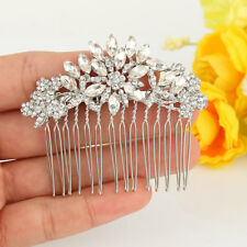 Silver Tone Plated Clear Rhinestone Crystal Bridal Flower Hair Comb Accessories