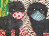 Affenpinscher Quarantine ACEO PRINT Dog Mini Art Card 2.5X3.5 KSAMS Collectible