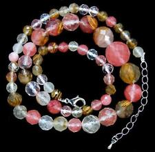 Natural 6-14mm faceted Watermelon Tourmaline Tower Necklace 18''