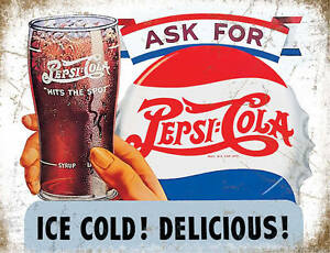 Pepsi Cola - Ice Cold - Metal Wall Sign (3 sizes - Small / Large and Jumbo)