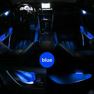 Blue Car Door Bowl Handle LED Light Ambient Atmosphere Interior Lamp Accessories