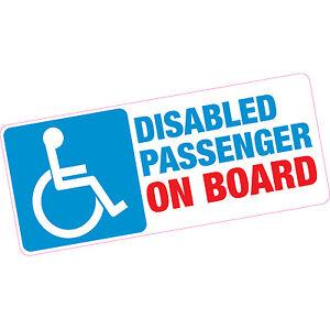 Disabled Passenger On Board Vinyl Sticker Blue Badge Car Motability Child Old