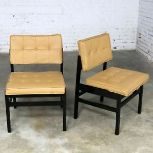 Pair Hibriten Blackened Wood and Faux Leather Mid Century Modern Chairs