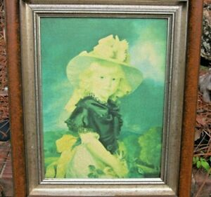 Nettle Creek painting oil transfer to canvas young girl in fancy hat and clothes