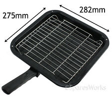 Small Square Single Handled Enamelled Grill Pan & Rack for Zanussi Oven Cooker