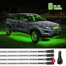 GREEN 8pc 24in Tubes Led Under Car Glow Neon Strip Lights Kit 3 Pattern+14 Tube